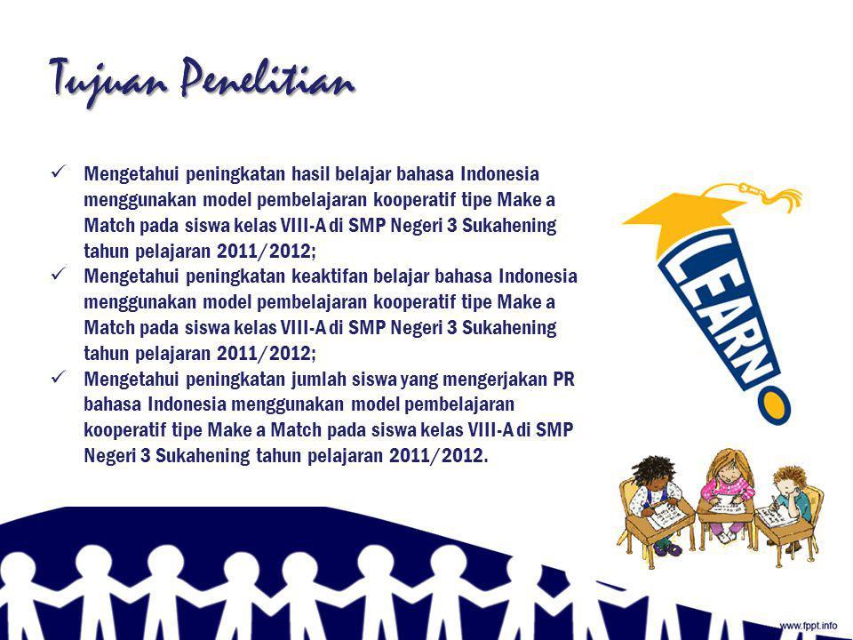 Rumusan Masalah  Apakah model pembelajaran kooperatif tipe Make a Match bisa meningkatkan hasil belajar Bahasa Indonesia pada siswa kelas VIII-A di SMP Negeri 3 Sukahening tahun pelajaran 2011/2012?;  Apakah model pembelajaran kooperatif tipe Make a Match bisa meningkatkan Keaktifan Belajar Bahasa Indonesia pada siswa kelas VIII-A di SMP Negeri 3 Sukahening tahun pelajaran 2011/2012?;  Apakah model pembelajaran kooperatif tipe Make a Match bisa meningkatkan jumlah siswa yang mengerjakan PR Bahasa Indonesia pada siswa kelas VIII-A di SMP Negeri 3 Sukahening tahun pelajaran 2011/2012?.