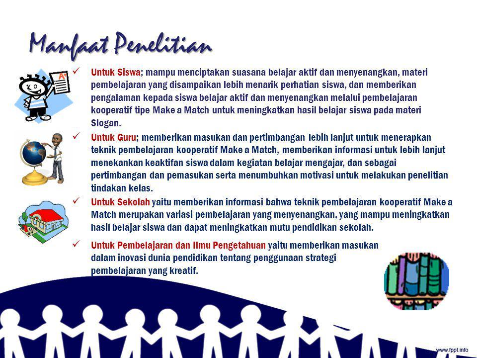 Tujuan Penelitian Mengetahui peningkatan hasil belajar bahasa Indonesia menggunakan model pembelajaran kooperatif tipe Make a Match pada siswa kelas VIII-A di SMP Negeri 3 Sukahening tahun pelajaran 2011/2012; Mengetahui peningkatan keaktifan belajar bahasa Indonesia menggunakan model pembelajaran kooperatif tipe Make a Match pada siswa kelas VIII-A di SMP Negeri 3 Sukahening tahun pelajaran 2011/2012; Mengetahui peningkatan jumlah siswa yang mengerjakan PR bahasa Indonesia menggunakan model pembelajaran kooperatif tipe Make a Match pada siswa kelas VIII-A di SMP Negeri 3 Sukahening tahun pelajaran 2011/2012.