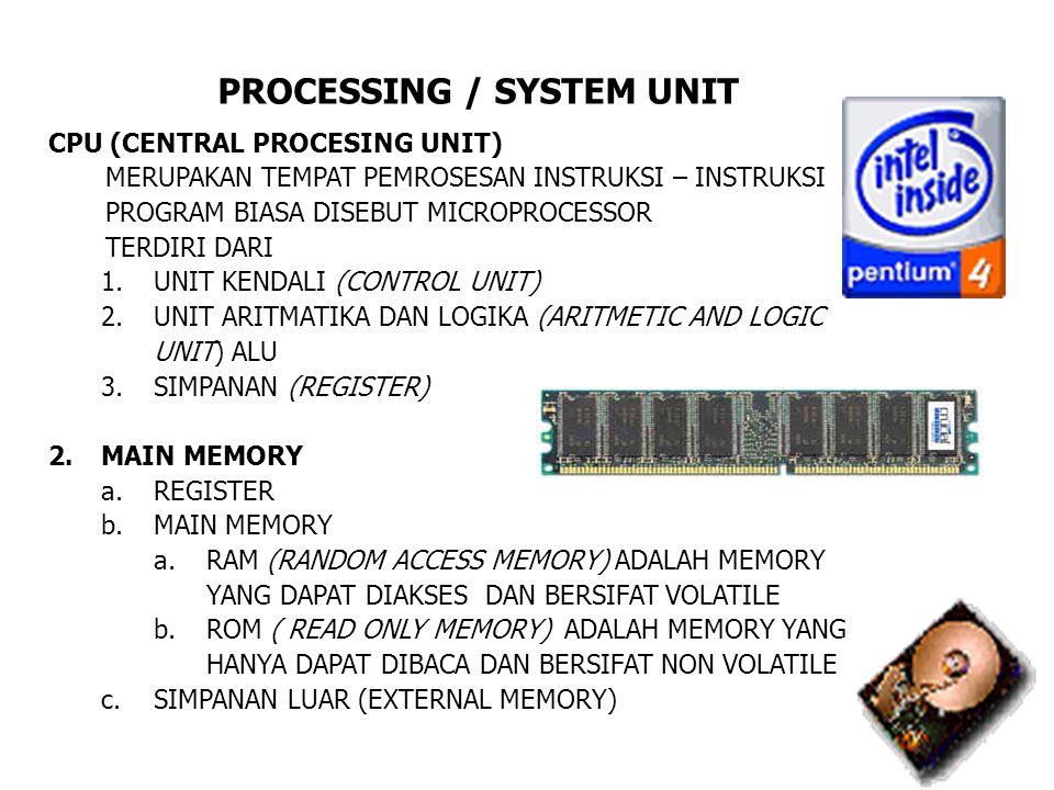 PROCESSING / SYSTEM UNIT CPU (CENTRAL PROCESING UNIT) MERUPAKAN TEMPAT PEMROSESAN INSTRUKSI – INSTRUKSI PROGRAM BIASA DISEBUT MICROPROCESSOR TERDIRI D