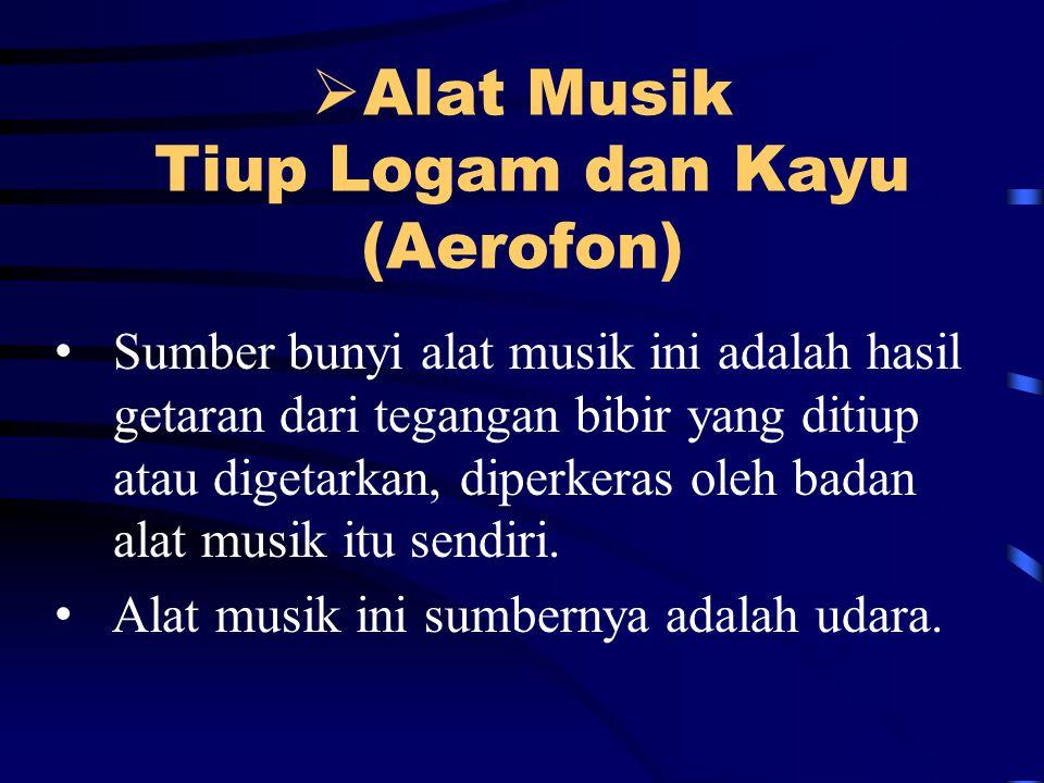  Alat Musik Tiup Logam dan Kayu (Aerofon) Sumber bunyi alat musik ini adalah hasil getaran dari tegangan bibir yang ditiup atau digetarkan, diperkeras oleh badan alat musik itu sendiri.