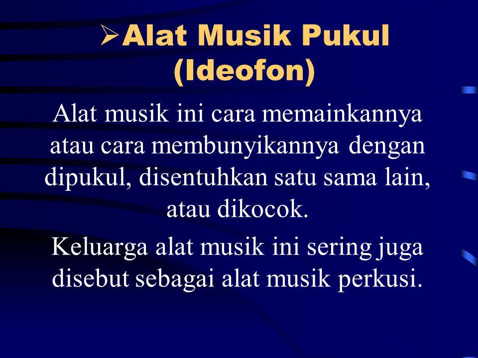  Alat Musik Pukul (Ideofon) Alat musik ini cara memainkannya atau cara membunyikannya dengan dipukul, disentuhkan satu sama lain, atau dikocok.