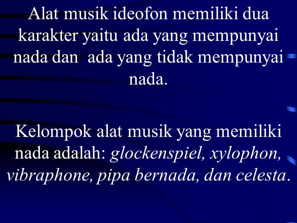 Alat musik ideofon memiliki dua karakter yaitu ada yang mempunyai nada dan ada yang tidak mempunyai nada.