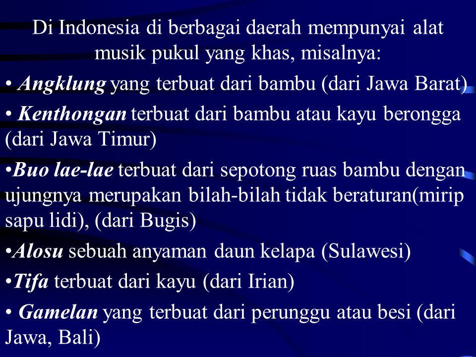 Di Indonesia di berbagai daerah mempunyai alat musik pukul yang khas, misalnya: Angklung yang terbuat dari bambu (dari Jawa Barat) Kenthongan terbuat dari bambu atau kayu berongga (dari Jawa Timur) Buo lae-lae terbuat dari sepotong ruas bambu dengan ujungnya merupakan bilah-bilah tidak beraturan(mirip sapu lidi), (dari Bugis) Alosu sebuah anyaman daun kelapa (Sulawesi) Tifa terbuat dari kayu (dari Irian) Gamelan yang terbuat dari perunggu atau besi (dari Jawa, Bali)