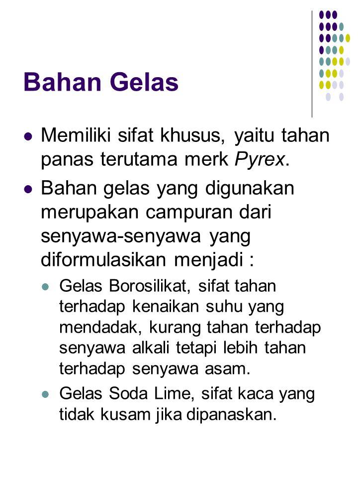 Bahan Gelas Memiliki sifat khusus, yaitu tahan panas terutama merk Pyrex. Bahan gelas yang digunakan merupakan campuran dari senyawa-senyawa yang difo