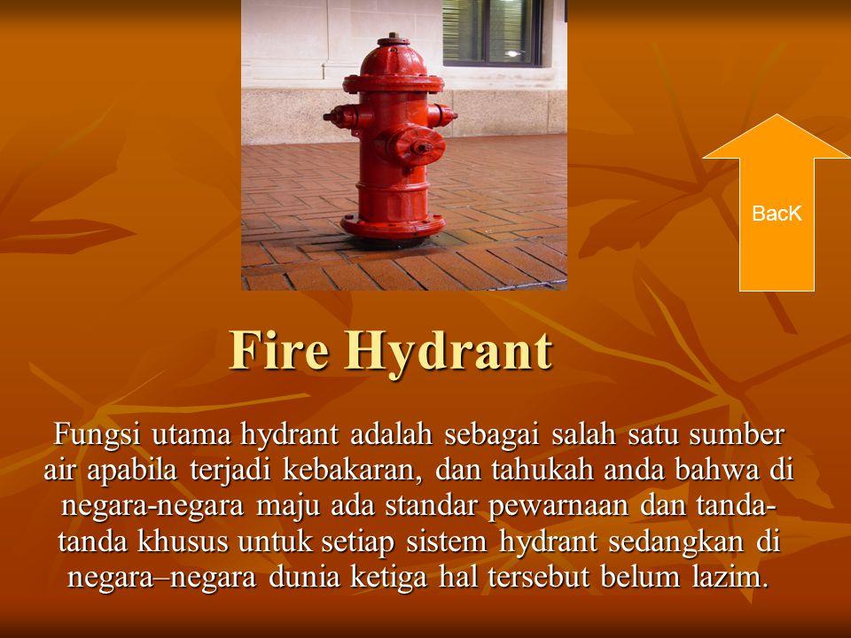 Fire Hydrant Fungsi utama hydrant adalah sebagai salah satu sumber air apabila terjadi kebakaran, dan tahukah anda bahwa di negara-negara maju ada sta