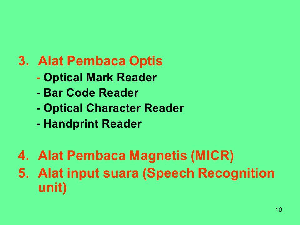 10 3.Alat Pembaca Optis - Optical Mark Reader - Bar Code Reader - Optical Character Reader - Handprint Reader 4.Alat Pembaca Magnetis (MICR) 5.Alat input suara (Speech Recognition unit)