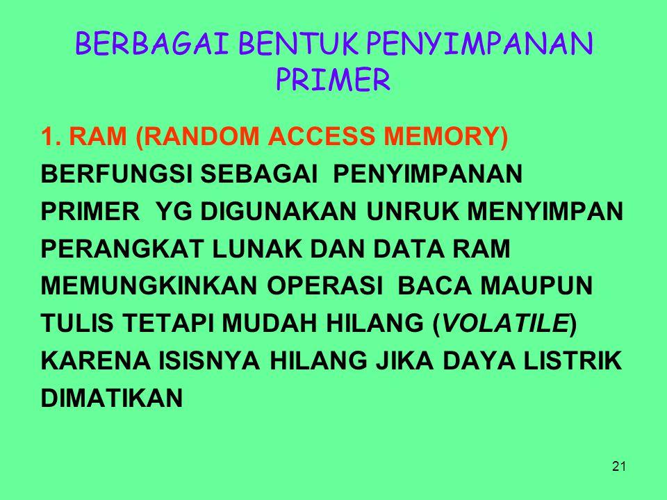 21 BERBAGAI BENTUK PENYIMPANAN PRIMER 1. RAM (RANDOM ACCESS MEMORY) BERFUNGSI SEBAGAI PENYIMPANAN PRIMER YG DIGUNAKAN UNRUK MENYIMPAN PERANGKAT LUNAK