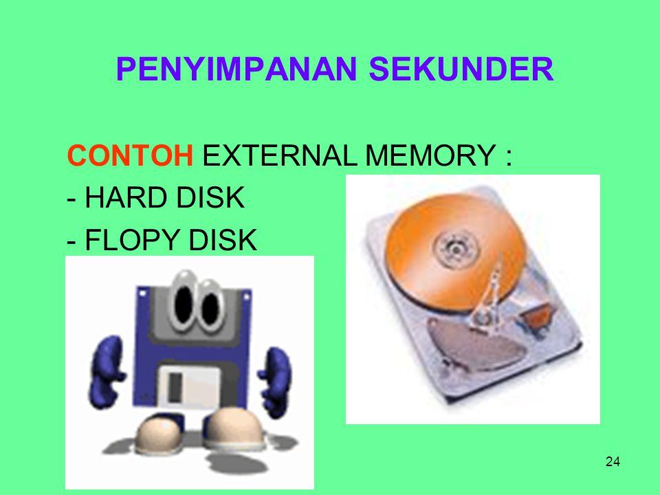 24 PENYIMPANAN SEKUNDER CONTOH EXTERNAL MEMORY : - HARD DISK - FLOPY DISK