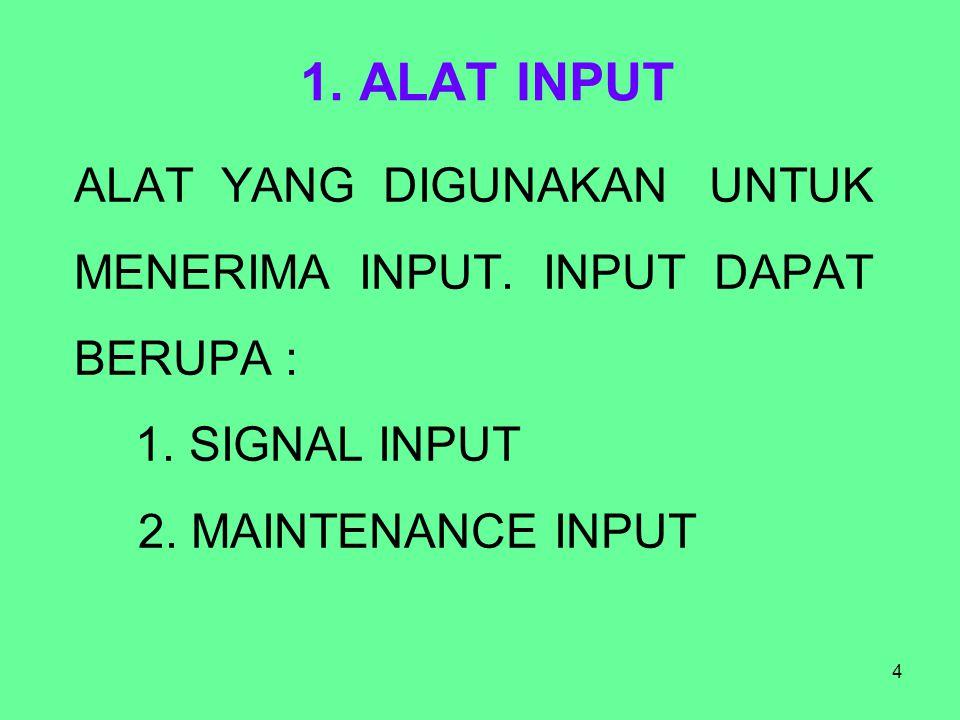 4 1. ALAT INPUT ALAT YANG DIGUNAKAN UNTUK MENERIMA INPUT. INPUT DAPAT BERUPA : 1. SIGNAL INPUT 2. MAINTENANCE INPUT