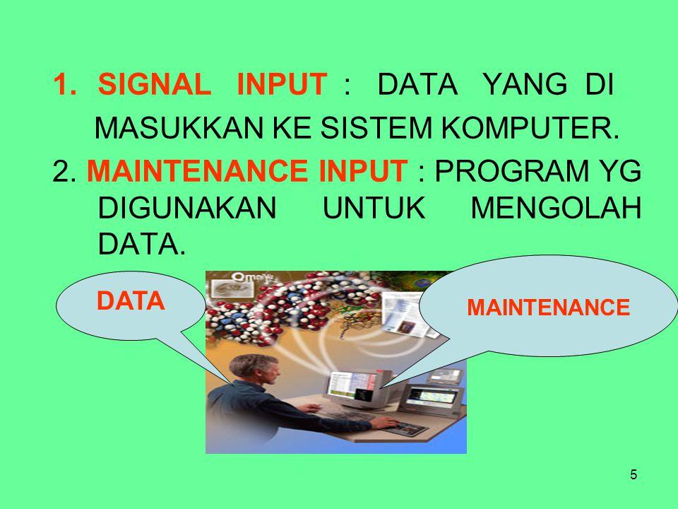 5 1.SIGNAL INPUT : DATA YANG DI MASUKKAN KE SISTEM KOMPUTER. 2. MAINTENANCE INPUT : PROGRAM YG DIGUNAKAN UNTUK MENGOLAH DATA. DATA MAINTENANCE
