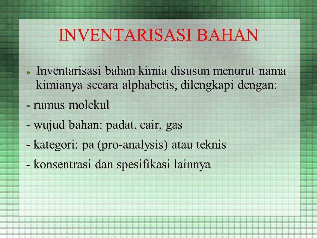 INVENTARISASI BAHAN Inventarisasi bahan kimia disusun menurut nama kimianya secara alphabetis Inventarisasi bahan kimia disusun menurut nama kimianya