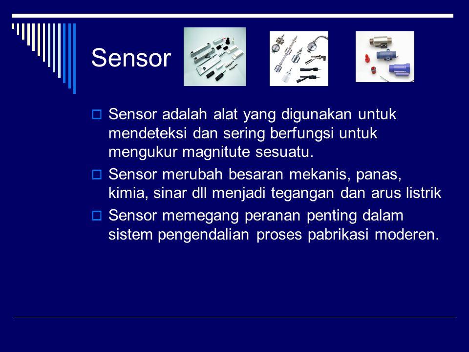 Jenis-jenis sensor  Sensor kedekatan (proximity sensor)  Sensor sinar  Sensor efek Hall  Sensor ultrasonik  Sensor tekanan  Sensor suhu  Sensor penyandi (encoder sensor)