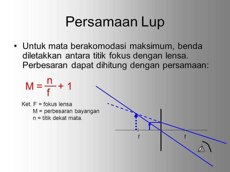 Persamaan Lup Untuk mata berakomodasi maksimum, benda diletakkan antara titik fokus dengan lensa. Perbesaran dapat dihitung dengan persamaan: M = nfnf