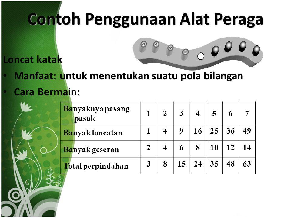 Contoh Penggunaan Alat Peraga Loncat katak Manfaat: untuk menentukan suatu pola bilangan Cara Bermain: Banyaknya pasang pasak 1234567 Banyak loncatan