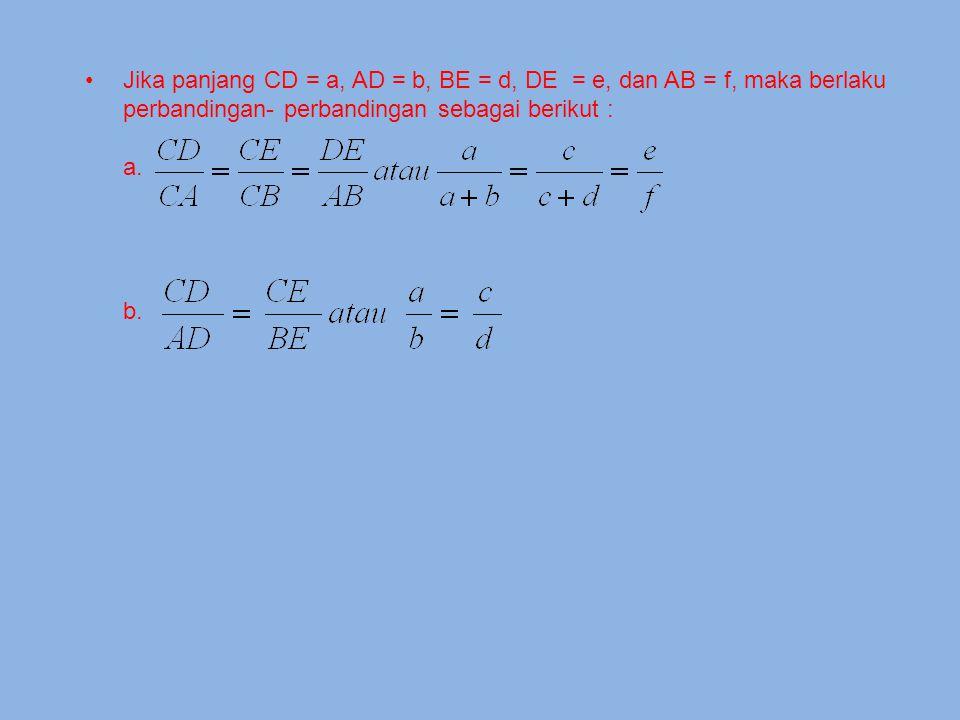 KAJIAN TEORI Garis-garis sejajar dengan sisi segitiga Pada gambar di atas ABC dan CED sebangun, karena sudut- sudut yang bersesuaian sama besar, yaitu