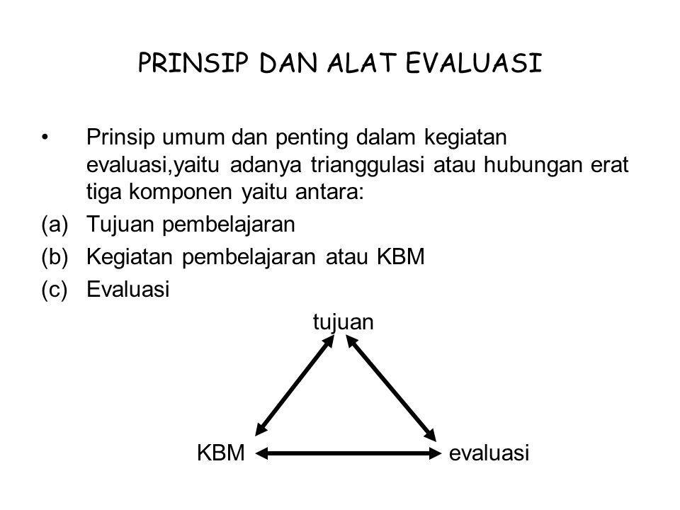 PRINSIP DAN ALAT EVALUASI Prinsip umum dan penting dalam kegiatan evaluasi,yaitu adanya trianggulasi atau hubungan erat tiga komponen yaitu antara: (a