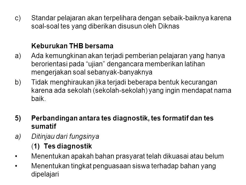 c)Standar pelajaran akan terpelihara dengan sebaik-baiknya karena soal-soal tes yang diberikan disusun oleh Diknas Keburukan THB bersama a)Ada kemungk