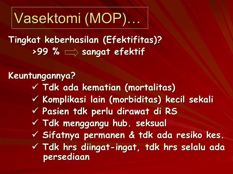 Vasektomi (MOP)… Tingkat keberhasilan (Efektifitas)? >99 % sangat efektif Keuntungannya? Tdk ada kematian (mortalitas) Tdk ada kematian (mortalitas) K