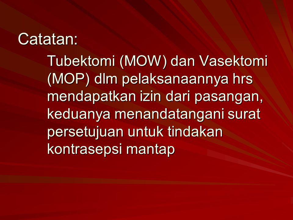 Catatan: Tubektomi (MOW) dan Vasektomi (MOP) dlm pelaksanaannya hrs mendapatkan izin dari pasangan, keduanya menandatangani surat persetujuan untuk ti