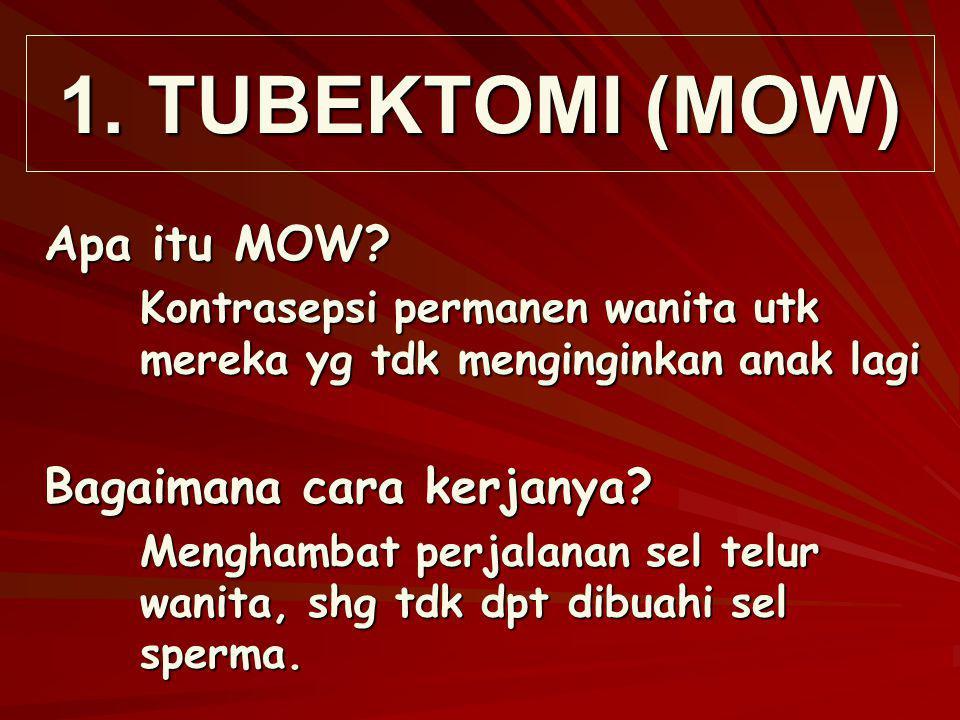 1. TUBEKTOMI (MOW) Apa itu MOW? Kontrasepsi permanen wanita utk mereka yg tdk menginginkan anak lagi Bagaimana cara kerjanya? Menghambat perjalanan se