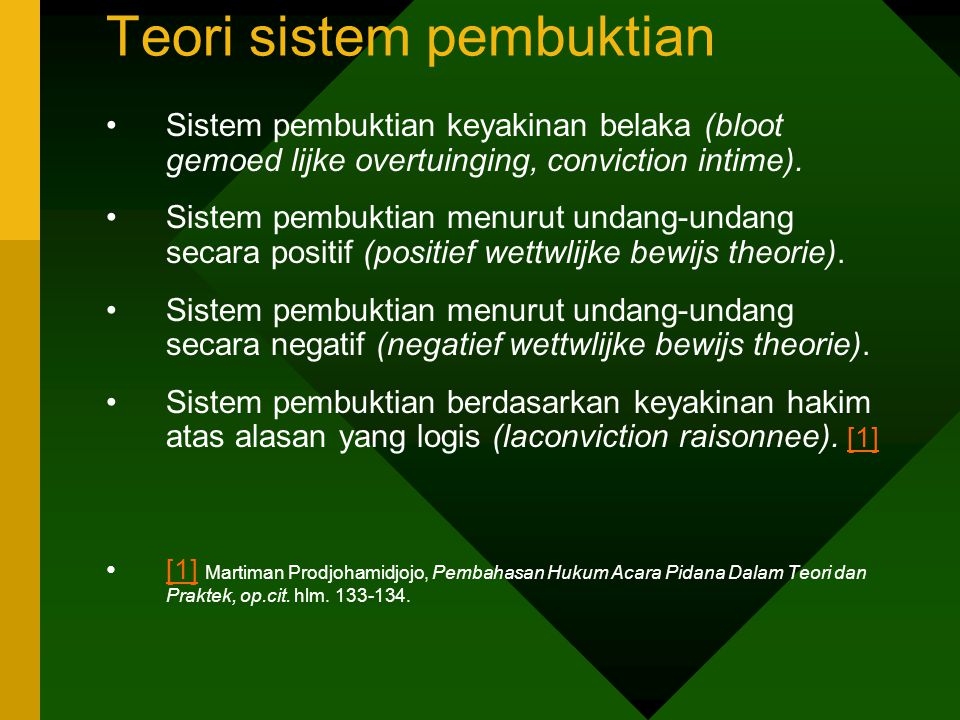 Teori sistem pembuktian Sistem pembuktian keyakinan belaka (bloot gemoed lijke overtuinging, conviction intime). Sistem pembuktian menurut undang-unda