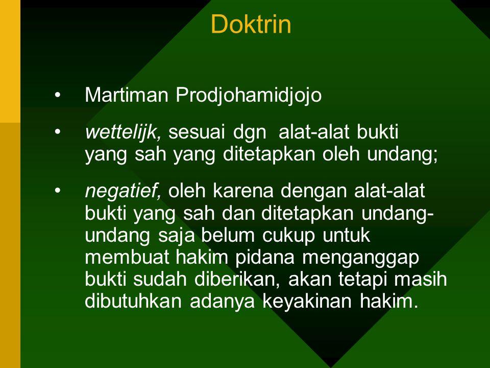 Doktrin Martiman Prodjohamidjojo wettelijk, sesuai dgn alat-alat bukti yang sah yang ditetapkan oleh undang; negatief, oleh karena dengan alat-alat bu