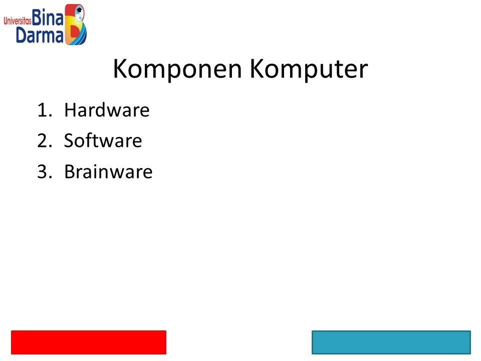 1.Hardware 2.Software 3.Brainware Komponen Komputer
