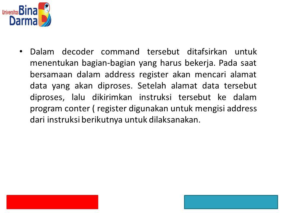 Dalam decoder command tersebut ditafsirkan untuk menentukan bagian-bagian yang harus bekerja. Pada saat bersamaan dalam address register akan mencari