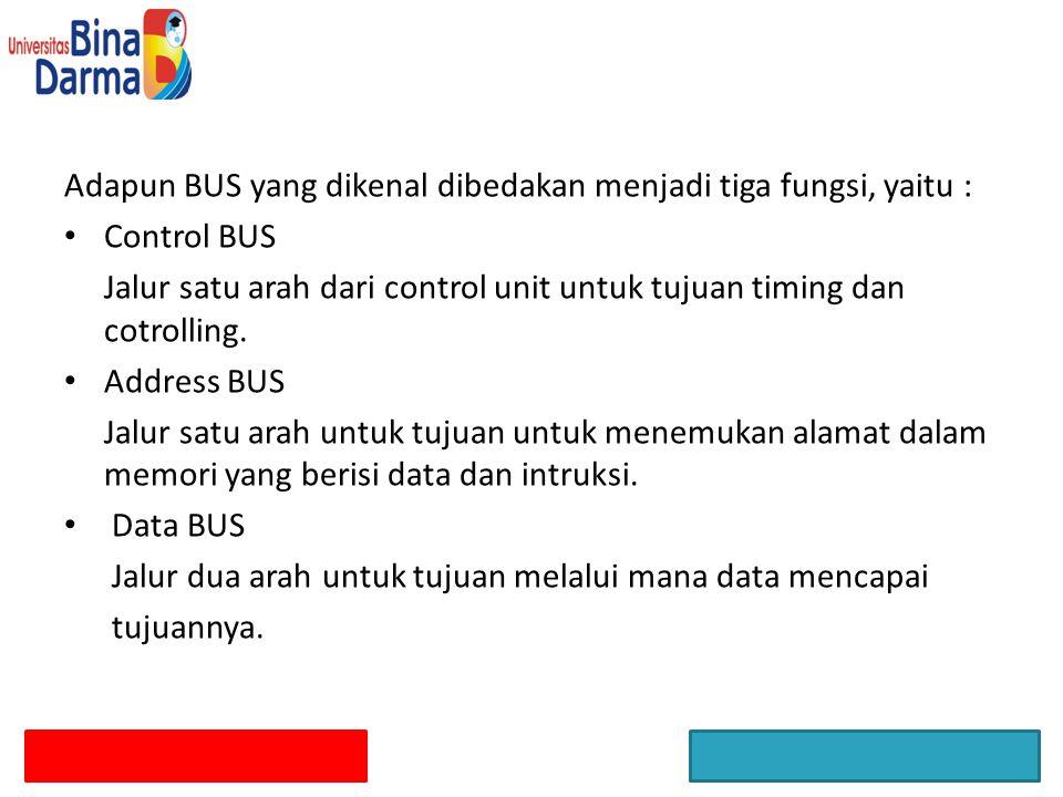 Adapun BUS yang dikenal dibedakan menjadi tiga fungsi, yaitu : Control BUS Jalur satu arah dari control unit untuk tujuan timing dan cotrolling. Addre