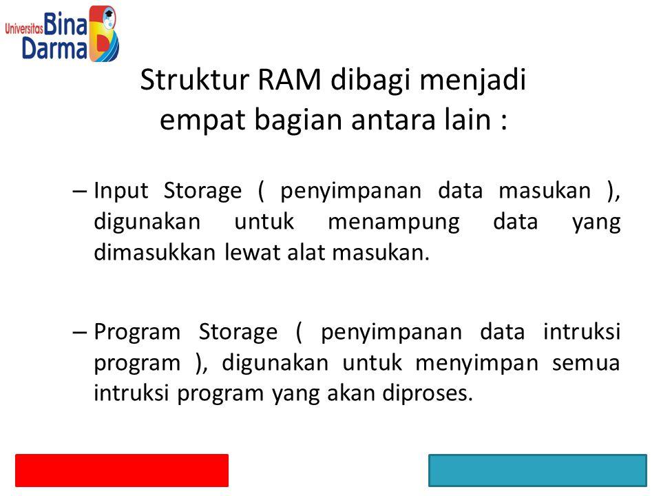 Struktur RAM dibagi menjadi empat bagian antara lain : – Input Storage ( penyimpanan data masukan ), digunakan untuk menampung data yang dimasukkan le
