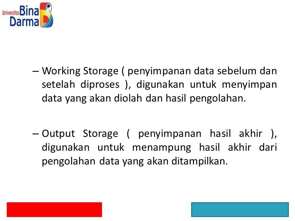– Working Storage ( penyimpanan data sebelum dan setelah diproses ), digunakan untuk menyimpan data yang akan diolah dan hasil pengolahan. – Output St