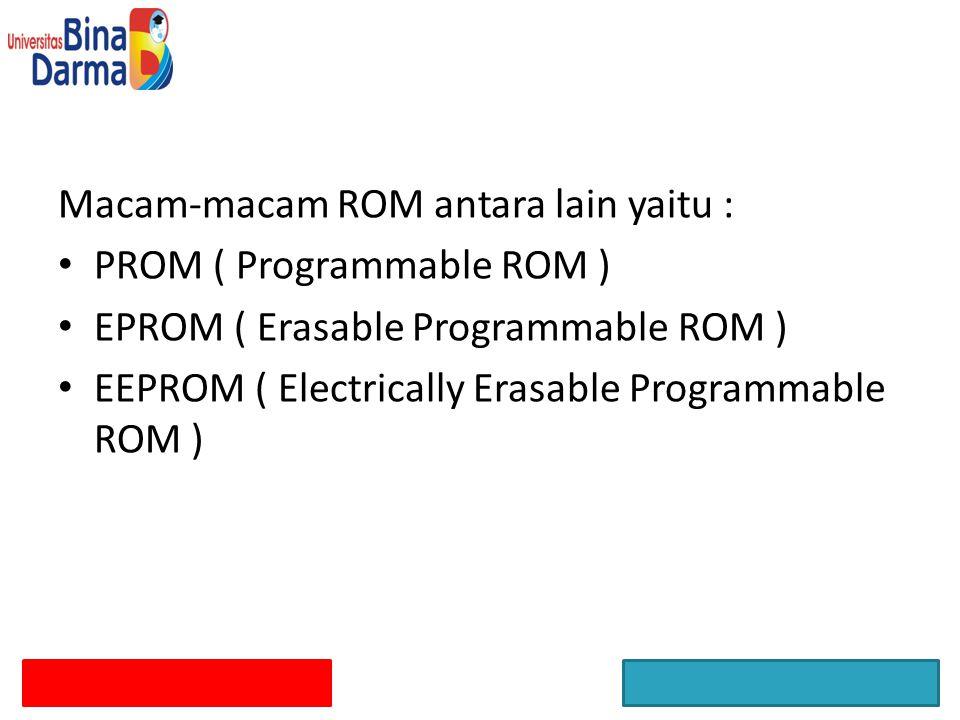 Macam-macam ROM antara lain yaitu : PROM ( Programmable ROM ) EPROM ( Erasable Programmable ROM ) EEPROM ( Electrically Erasable Programmable ROM )