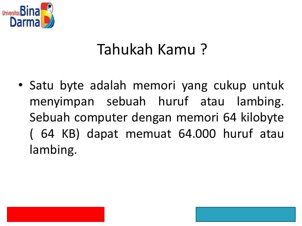 Tahukah Kamu ? Satu byte adalah memori yang cukup untuk menyimpan sebuah huruf atau lambing. Sebuah computer dengan memori 64 kilobyte ( 64 KB) dapat