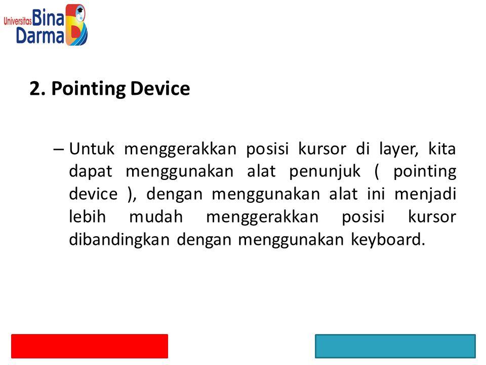 2. Pointing Device – Untuk menggerakkan posisi kursor di layer, kita dapat menggunakan alat penunjuk ( pointing device ), dengan menggunakan alat ini