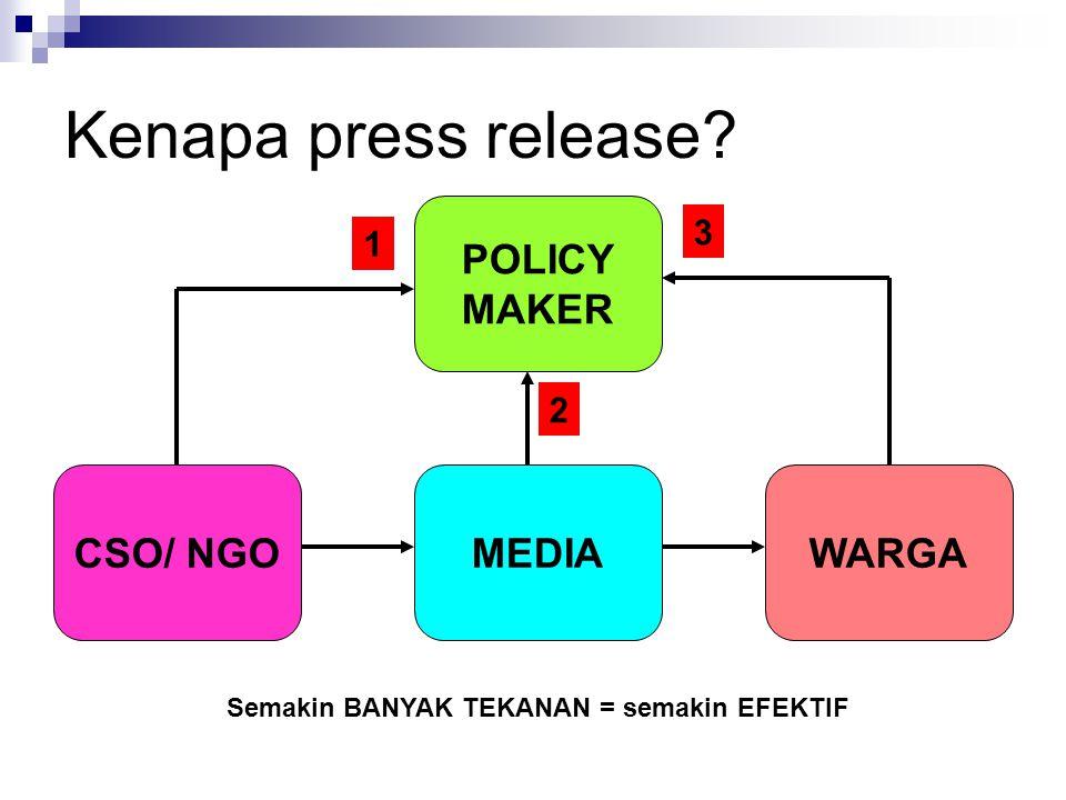 Kenapa press release? CSO/ NGOMEDIA POLICY MAKER WARGA 1 3 2 Semakin BANYAK TEKANAN = semakin EFEKTIF