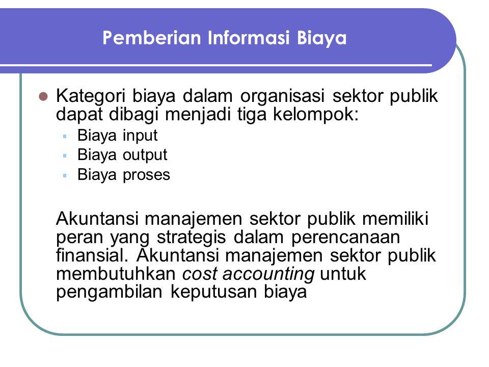 Pemberian Informasi Biaya Kategori biaya dalam organisasi sektor publik dapat dibagi menjadi tiga kelompok:  Biaya input  Biaya output  Biaya prose