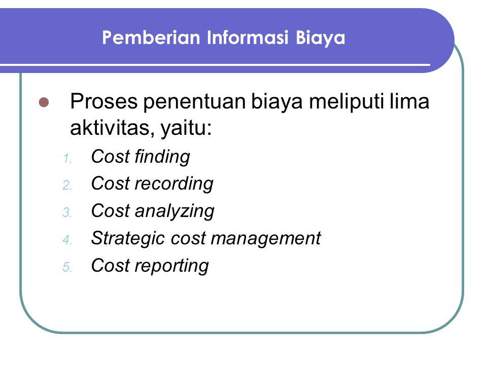 Pemberian Informasi Biaya Proses penentuan biaya meliputi lima aktivitas, yaitu: 1. Cost finding 2. Cost recording 3. Cost analyzing 4. Strategic cost