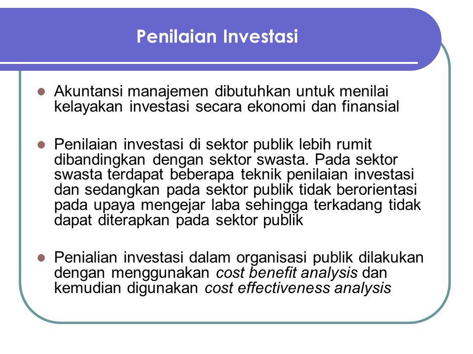 Penilaian Investasi Akuntansi manajemen dibutuhkan untuk menilai kelayakan investasi secara ekonomi dan finansial Penilaian investasi di sektor publik