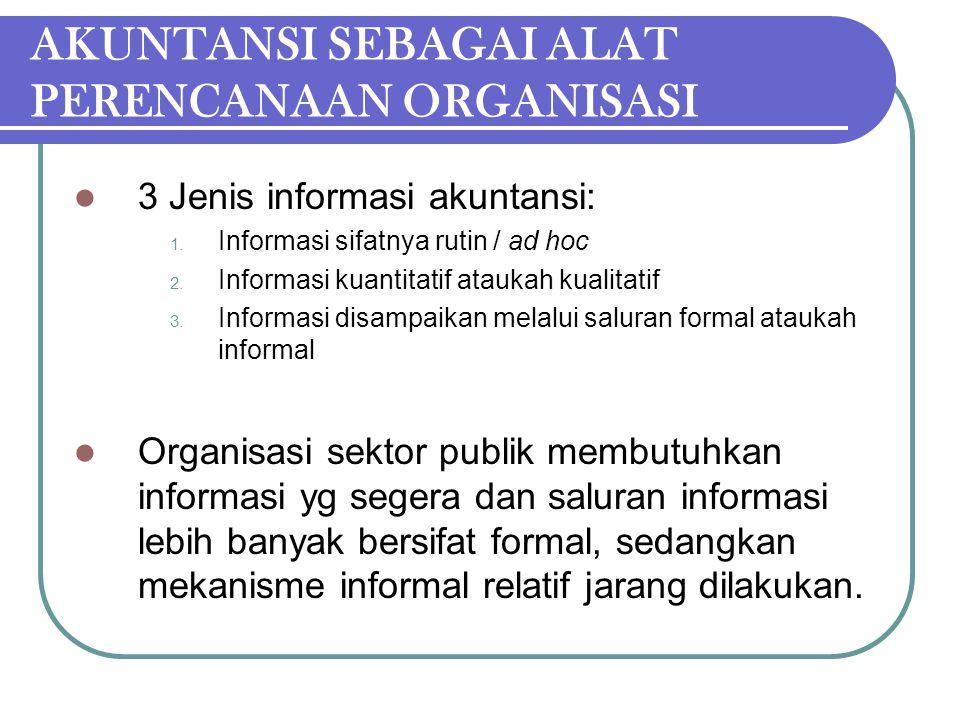 AKUNTANSI SEBAGAI ALAT PERENCANAAN ORGANISASI 3 Jenis informasi akuntansi: 1. Informasi sifatnya rutin / ad hoc 2. Informasi kuantitatif ataukah kuali