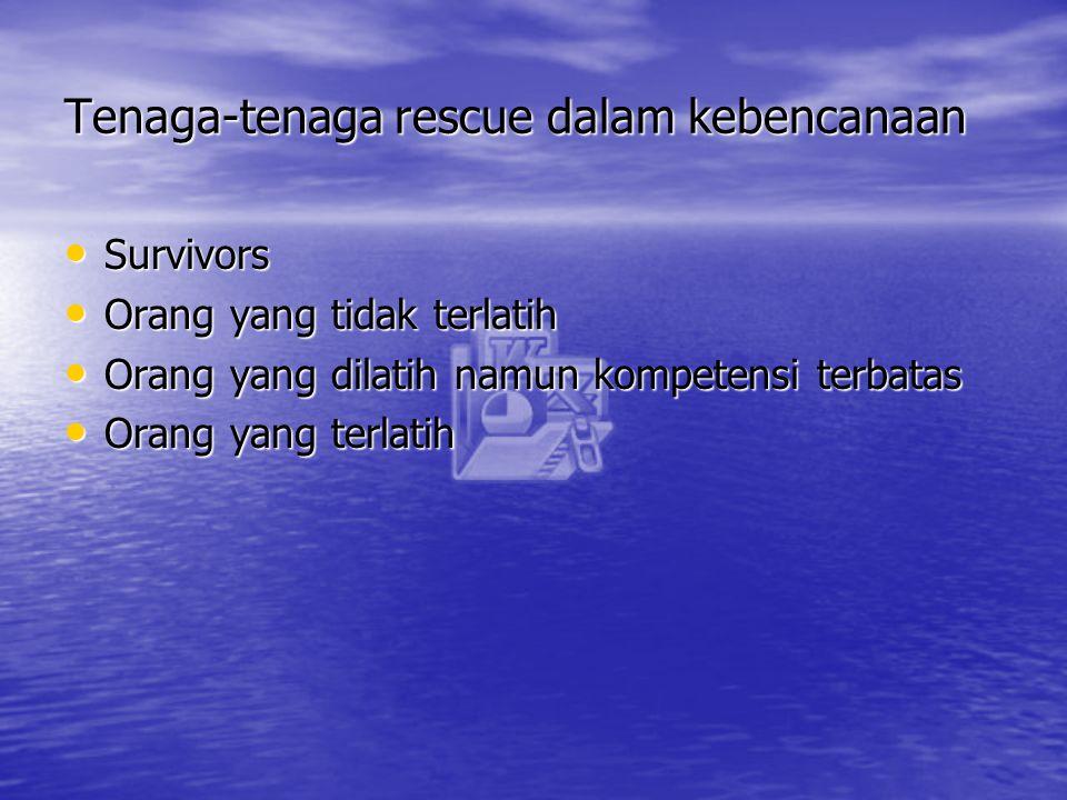 Tenaga-tenaga rescue dalam kebencanaan Survivors Survivors Orang yang tidak terlatih Orang yang tidak terlatih Orang yang dilatih namun kompetensi ter