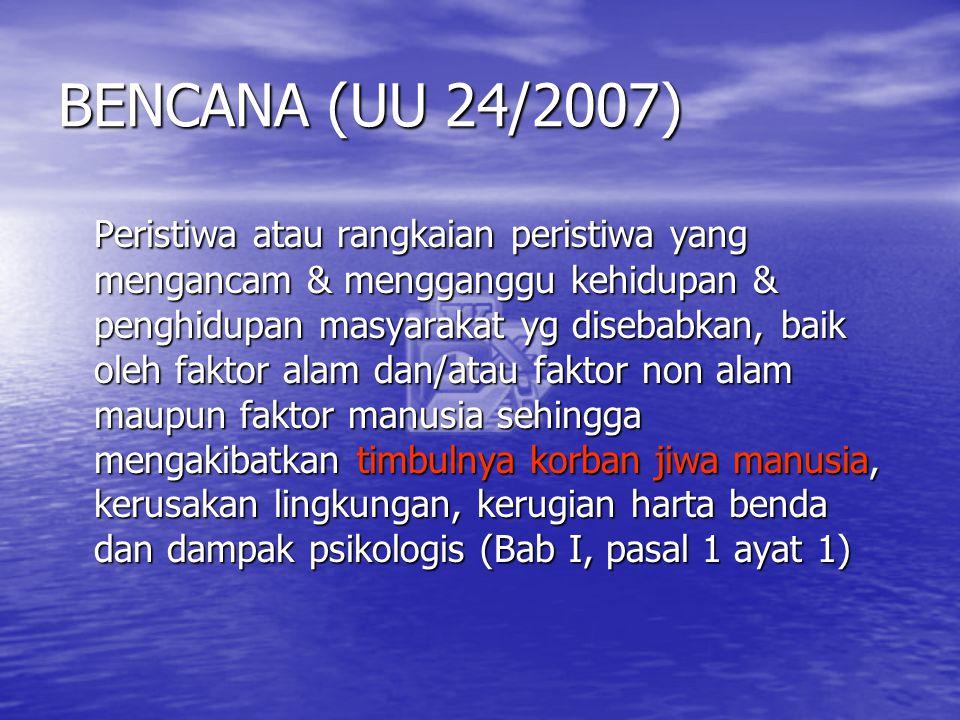 BENCANA (UU 24/2007) Peristiwa atau rangkaian peristiwa yang mengancam & mengganggu kehidupan & penghidupan masyarakat yg disebabkan, baik oleh faktor