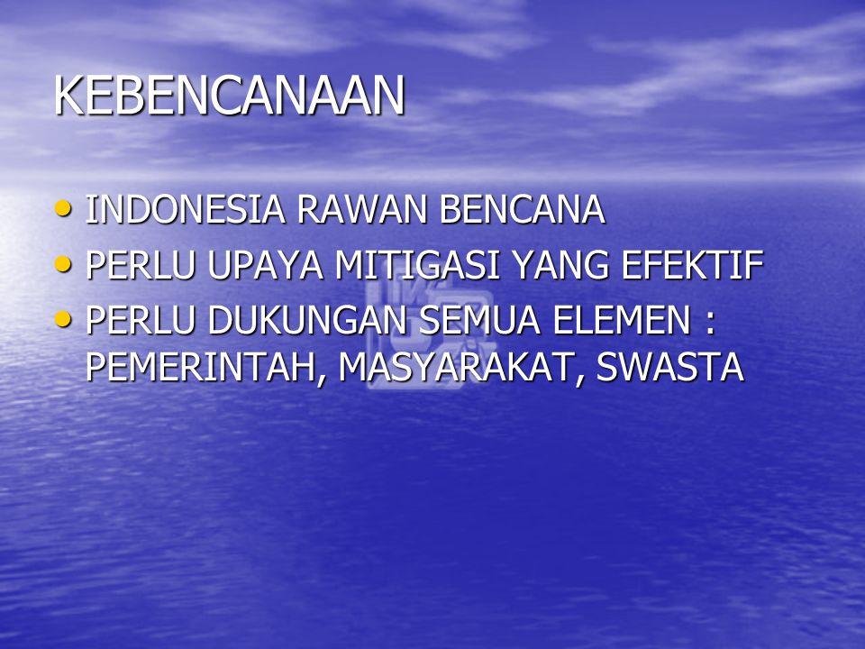 KEBENCANAAN INDONESIA RAWAN BENCANA INDONESIA RAWAN BENCANA PERLU UPAYA MITIGASI YANG EFEKTIF PERLU UPAYA MITIGASI YANG EFEKTIF PERLU DUKUNGAN SEMUA E