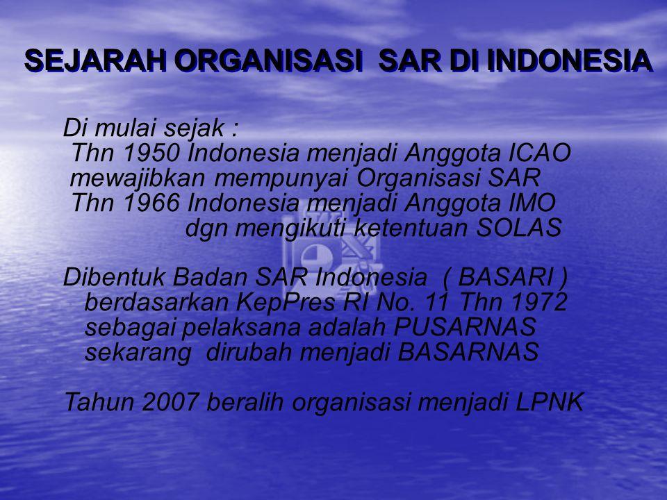 Di mulai sejak : Thn 1950 Indonesia menjadi Anggota ICAO mewajibkan mempunyai Organisasi SAR Thn 1966 Indonesia menjadi Anggota IMO dgn mengikuti kete