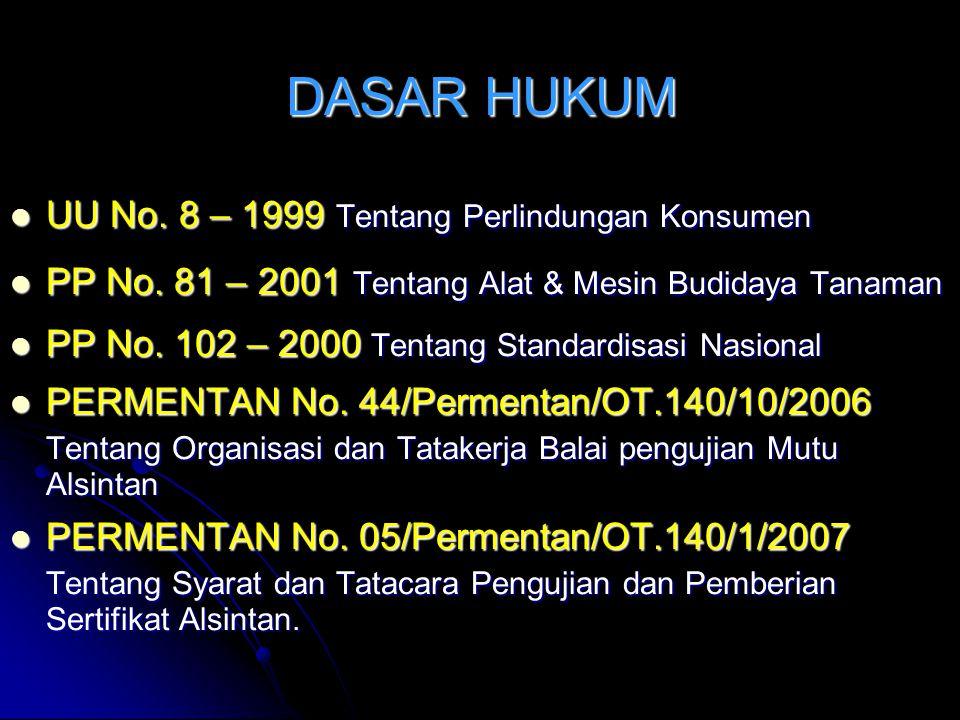 DASAR HUKUM UTAMA n UU No. 12 Tahun 1992 tentang Sistem Budidaya Tanaman. Pasal 43 Ayat (1) Pemerintah menetapkan jenis dan standar alsin budi daya ta