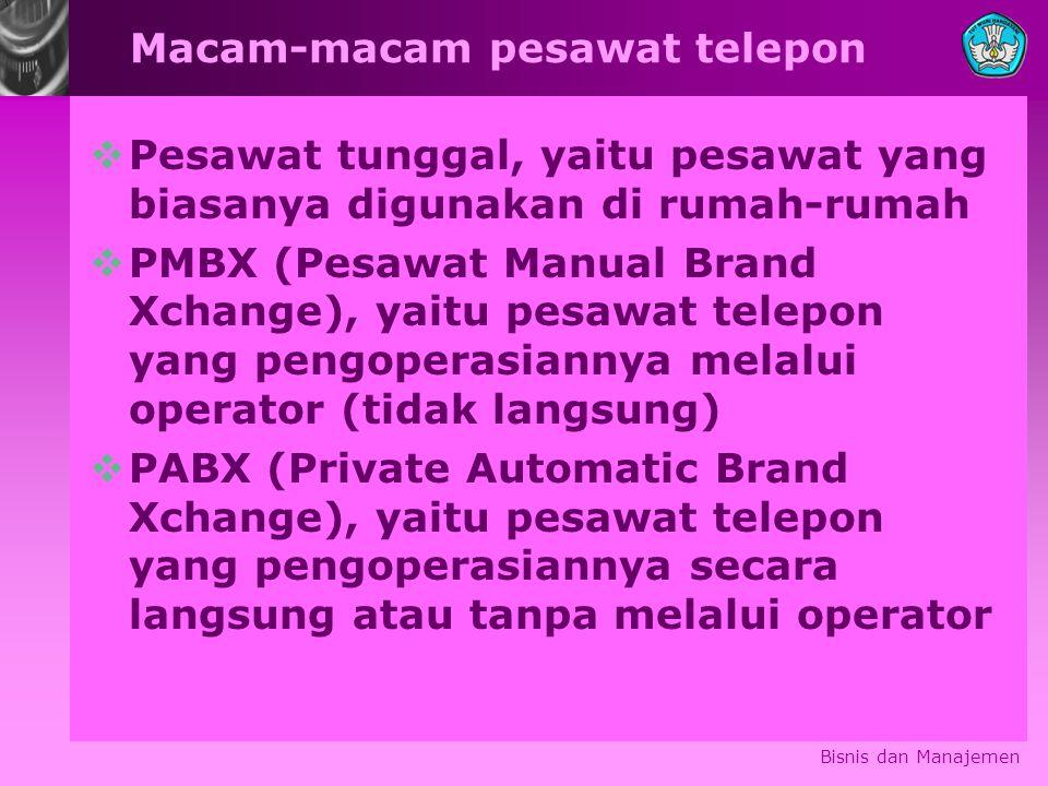 Macam-macam pesawat telepon  Pesawat tunggal, yaitu pesawat yang biasanya digunakan di rumah-rumah  PMBX (Pesawat Manual Brand Xchange), yaitu pesawat telepon yang pengoperasiannya melalui operator (tidak langsung)  PABX (Private Automatic Brand Xchange), yaitu pesawat telepon yang pengoperasiannya secara langsung atau tanpa melalui operator Bisnis dan Manajemen