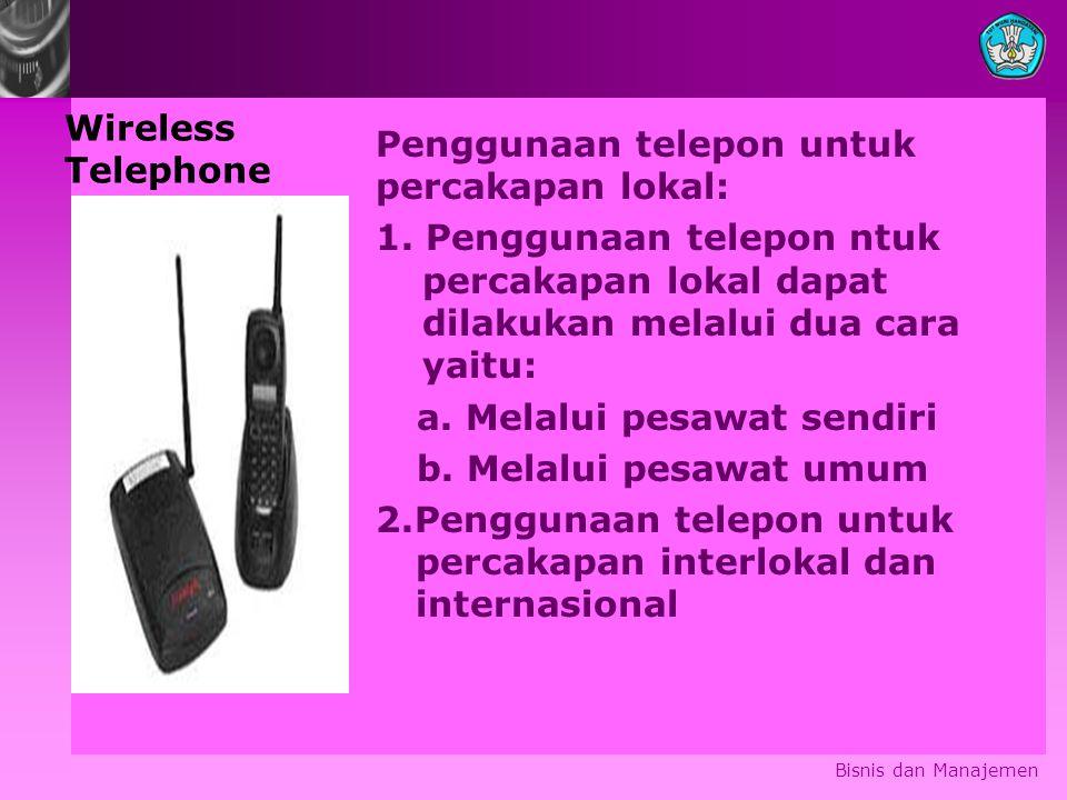 Wireless Telephone Penggunaan telepon untuk percakapan lokal: 1.