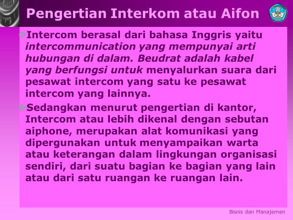 Pengertian Interkom atau Aifon  Intercom berasal dari bahasa Inggris yaitu intercommunication yang mempunyai arti hubungan di dalam.