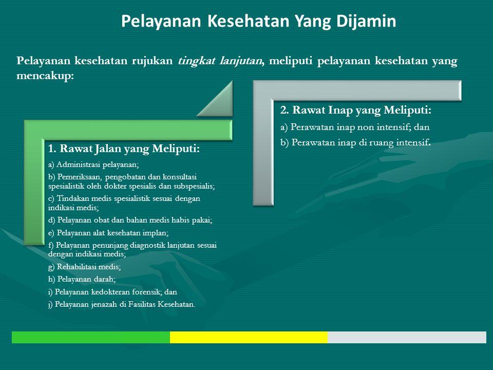 Pelayanan Kesehatan Yang Dijamin Pelayanan Kesehatan Tingkat Pertama (RJTP dan RITP) Pelayanan Kesehatan Rujukan Tingkat Lanjutan (RJTL dan RITL) Pela