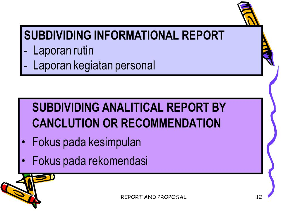 REPORT AND PROPOSAL12 SUBDIVIDING ANALITICAL REPORT BY CANCLUTION OR RECOMMENDATION Fokus pada kesimpulan Fokus pada rekomendasi SUBDIVIDING INFORMATI