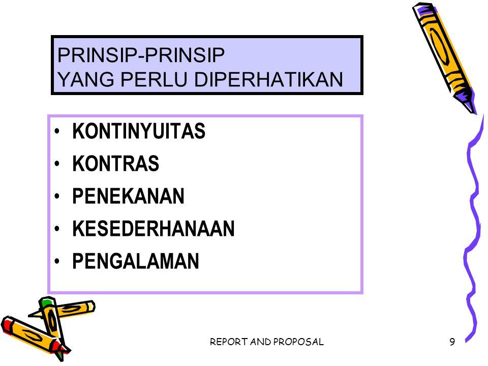 REPORT AND PROPOSAL9 PRINSIP-PRINSIP YANG PERLU DIPERHATIKAN KONTINYUITAS KONTRAS PENEKANAN KESEDERHANAAN PENGALAMAN